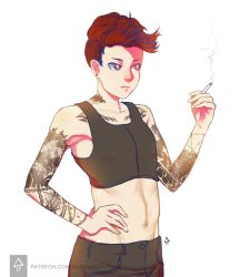 1girl chest_binder cigarette collarbone crop_top erica_june_lahaie groin hand_on_hip highres midriff navel original purple_eyes red_hair signature smoke solo tattoo upper_body watermark web_address