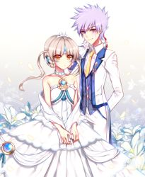 1boy 1girl add_(elsword) bouquet braid choker collarbone dress elsword eve_(elsword) facial_mark flower formal french_braid lily_(flower) necktie over_shoulder purple_eyes purple_hair short_hair smile strapless_dress suit tangel tattoo tiara wedding wedding_dress white white_background white_dress white_hair yellow_eyes