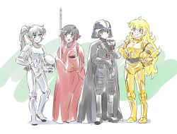 4girls blake_belladonna c-3po c-3po_(cosplay) cosplay darth_vader darth_vader_(cosplay) emperor's_royal_guard highres iesupa multiple_girls ruby_rose rwby star_wars stormtrooper weiss_schnee yang_xiao_long