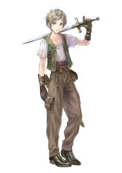 1boy atelier_(series) atelier_totori blonde_hair gino_knab gloves green_eyes kishida_mel official_art simple_background solo sword vest weapon white_background