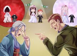 0_0 10s 2boys 2girls alternate_costume arguing black_hair blue_ribbon bridal_veil brown_eyes chibi_inset commentary dress eye_contact facial_hair father_and_son formal glasses gloves grandmother_and_granddaughter green_ribbon grey_hair hair_intakes hair_ribbon hakama haori height_difference highres iowa_(pacific) japanese_clothes jewelry kimi_no_na_wa kimono looking_at_another melisaongmiqin miyamizu_hitoha mole mole_under_eye money multicolored multicolored_ribbon multiple_boys multiple_girls necklace no_hat no_headwear old_woman open_mouth pacific pointing red_hair ribbon scared solid_oval_eyes star_necklace stubble suit turn_pale uchikake veil wedding_dress white_gloves