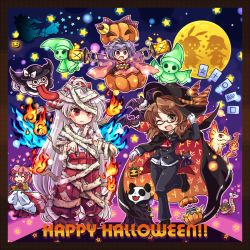 6+girls :c :d animal_ears animalization ascot bandage bat beret bird blue_fire bow broom broom_riding brown_eyes brown_hair bun_cover bunny_ears candy cape crescent double_bun entangled eyes_closed fang fiery_wings fire flame flying frog fujiwara_no_mokou full_moon ghost glasses hair_bow hair_bun halloween halloween_costume happy_halloween hat hat_bow heart highres ibaraki_kasen jack-o'-lantern japanese_clothes kimono kirisame_marisa lantern little_green_men lollipop long_hair long_sleeves looking_at_viewer minigirl moon multiple_girls mummy_(cosplay) obi one_eye_closed open_mouth panda pants phoenix pink_hair pote_(ptkan) purple_eyes purple_hair rat red-framed_glasses red_eyes ringo_(touhou) sash seiran_(touhou) shirt short_hair silhouette silver_hair smile snake standing_on_one_leg star sukuna_shinmyoumaru suspenders tongue torn_clothes torn_sleeves touhou usami_sumireko very_long_hair wide_sleeves wings