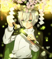 1boy cherry_blossoms fireflies green_eyes highres hotarumaru male_focus nodachi parted_lips pentarou_(2233456) rope shimenawa silver_hair sword touken_ranbu weapon