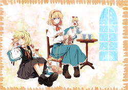 2girls alice_margatroid apron blonde_hair blue_dress blue_eyes blush bow chair cheek-to-cheek cup dress eyes_closed grin hair_bow hairband heart juliet_sleeves kirisame_marisa knitting long_sleeves multiple_girls namatarou no_hat one_eye_closed puffy_sleeves shanghai_doll shirt sitting skirt skirt_set smile table teacup teapot touhou vest window wool yellow_eyes