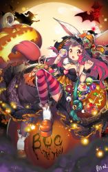 1girl :o artist_name bare_shoulders bat bow breasts candy cleavage english eyeball food full_body full_moon halloween hat hat_bow heart heart-shaped_pupils jack-o'-lantern kashi_kosugi lollipop long_hair looking_at_viewer medium_breasts moon original pink_eyes pink_hair platform_footwear striped striped_legwear symbol-shaped_pupils tongue tongue_out veins witch witch_hat wrist_cuffs