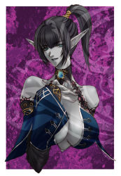 bare_shoulders black_hair blue_eyes blue_lipstick blue_skin breasts choker collarbone dark_elf detached_sleeves elf gordon_(tori63) hand_on_own_chest lineage lineage_2 lipstick makeup pointy_ears ponytail upper_body