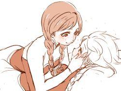 2girls anna_(frozen) azuma_yukihiko couple elsa_(frozen) eye_contact frozen_(disney) hand_on_own_cheek happy incest looking_at_another lying lying_on_person monochrome multiple_girls siblings sisters sketch smile yuri