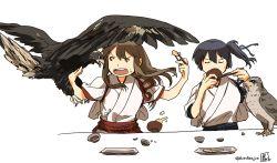 2girls akagi_(kantai_collection) bird bowl chopsticks eating falcon japanese_clothes kaga_(kantai_collection) kantai_collection long_hair multiple_girls side_ponytail spread_wings tora_jun wings