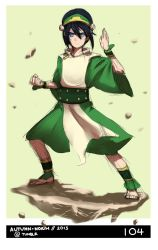 1girl anklet autumn-north avatar:_the_last_airbender barefoot black_hair blind blue_eyes chinese_clothes fighting_stance hair_bun hairband jewelry nickelodeon short_hair solo toph_bei_fong
