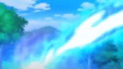 animated animated_gif battle mega_charizard_x mega_gallade mega_pokemon no_humans pokemon pokemon_(anime)