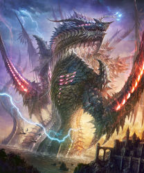 castle cloud dragon highres k-takano lightning monster original sky water