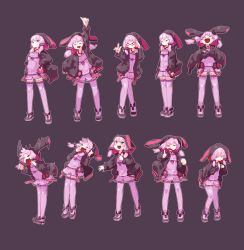 1girl :d ^_^ adjusting_glasses animal_ears animal_hood arm_at_side arm_up arms_at_sides bangs belt bespectacled black_eyes blush_stickers bunny_ears bunny_hood character_sheet clenched_hand closed_mouth contrapposto covering_ears criss-cross_halter crossed_arms dress eyebrows eyebrows_visible_through_hair eyes_closed fake_animal_ears fingers_together flat_chest glasses hair_ornament halter_top halterneck hand_on_hip highres hood hooded_jacket index_finger_raised jacket knees_together_feet_apart leaning_back leaning_forward legs_together long_sleeves looking_up mossgreen multiple_views open_mouth outstretched_arm own_hands_together purple_dress purple_eyes purple_hair purple_legwear red-framed_glasses ribbon shoes short_hair_with_long_locks shouting simple_background smile standing sweat tears thighhighs vocaloid voiceroid wavy_mouth yuzuki_yukari