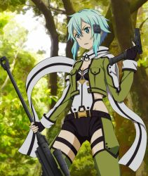 1girl belt black_gloves black_shorts blue_eyes blue_hair breasts cleavage fingerless_gloves forest gloves green_eyes green_legwear gun hand_holding jacket nature open_clothes open_jacket outdoors rifle rinkai_(mamepika8492) scarf shinon_(sao) short_shorts shorts sniper_rifle solo sword_art_online torn_clothes tree weapon