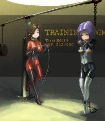 1=2 2girls arms_behind_back ballet_boots bdsm blush bodysuit bondage breasts brown_hair chains collar cuffs dominatrix femdom latex latex_suit long_hair multiple_girls original purple_hair short_hair slave tongue tongue_out underboob yellow_eyes yuri