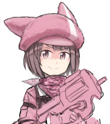 >:) 1girl animal_hat artist_name bullpup character_request ergot gun hat looking_at_viewer p90 pink ren_(sao) scarf shaded_face simple_background sketch smile solo submachine_gun sword_art_online trigger_discipline uniform upper_body weapon white_background