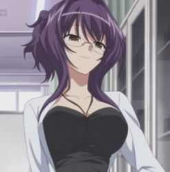 11eyes 1girl akamine_saiko breasts doctor glasses purple_hair screencap stitched