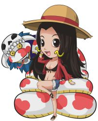 1girl ari_rayoko boa_hancock chibi monkey_d_luffy_(cosplay) one_piece salome_(one_piece) snake solo straw_hat