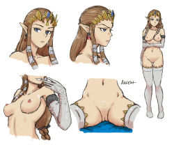 1girl akairiot blue_eyes breasts brown_hair character_sheet collage earrings elbow_gloves forehead_jewel full_body glove_pull gloves hair_ribbon holding_arm jewelry long_hair mouth_pull navel nintendo nipples nude perky_breasts pointy_ears princess_zelda pussy ribbon sitting solo super_smash_bros. the_legend_of_zelda thigh_gap thighhighs tiara tsurime twilight_princess uncensored