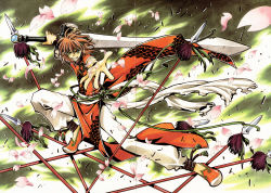 absurdres brown_hair character_request cherry_blossoms clamp green_eyes highres holding holding_sword holding_weapon sword tsubasa_chronicle weapon