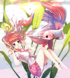 1girl air_bubble bangs barefoot blurry breasts brown_hair depth_of_field eyebrows_visible_through_hair feet fish floating_hair full_body goggles green_eyes hand_on_goggles hands_up highres looking_at_another medium_breasts miyaza navel open_mouth original pink_skirt plant pleated_skirt school_uniform scuba_gear serafuku skirt smile solo underwater water_surface yellow-framed_eyewear