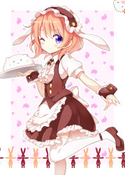 1girl :3 ;) angora_rabbit animal_ears apron bangs black_shoes black_skirt blush breasts bunny bunny_ears closed_mouth collared_shirt commentary_request eyebrows_visible_through_hair fake_animal_ears fleur_de_lapin_uniform floppy_ears frilled_cuffs frilled_hairband frilled_skirt frills gochuumon_wa_usagi_desu_ka? hairband heart highres holding holding_tray hoto_cocoa lolita_hairband looking_at_viewer mary_janes nanakusa_(user_rnpt7322) one_eye_closed orange_hair outline puffy_short_sleeves puffy_sleeves purple_eyes shirt shoes short_hair short_sleeves sidelocks skirt small_breasts smile standing standing_on_one_leg thighhighs tippy_(gochiusa) tray underbust waist_apron white_apron white_background white_legwear white_outline wrist_cuffs zettai_ryouiki