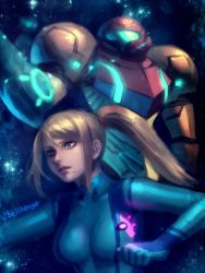 1girl arm_cannon artist_name bellhenge blue_eyes bodysuit breasts closed_mouth commentary glowing hair_tie highres medium_breasts metroid mole mole_under_mouth ponytail samus_aran short_hair sky solo star_(sky) starry_sky super_smash_bros. upper_body weapon zero_suit