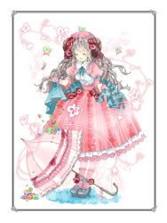 1girl :d ^_^ ankle_strap blush butterfly butterfly_on_head center_frills dress eyes_closed flower frame frilled_umbrella gloves grey_hair hair_flower hair_ornament hat high_heels konataeru lolita_fashion long_hair neck_ribbon open_mouth original overskirt personification pink_dress pink_gloves pink_legwear ribbon smile socks socks_over_pantyhose solo spring_(season) striped striped_legwear umbrella vertical-striped_legwear vertical_stripes wavy_hair