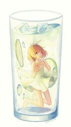 1girl 2014 afloat against_glass air_bubble bangs bare_legs barefoot blonde_hair blue_eyes bow cup dated dress drink drinking_glass finger_to_mouth flat_chest food fruit glass hair_bow hair_ornament hairclip hand_on_glass highres ice ice_cube in_container in_cup kagamine_rin lemon lemon_slice lime_slice looking_up max_(744275974) minigirl one_eye_closed short_hair simple_background sleeveless sleeveless_dress solo spaghetti_strap sundress tears underwater vocaloid water white_background white_bow white_dress