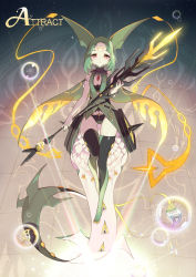 1000marie cape facial_mark forehead_mark gem green_hair mega_pokemon mega_rayquaza personification pokemon pokemon_(game) pokemon_oras rayquaza red_eyes tail thighhighs tiles weapon