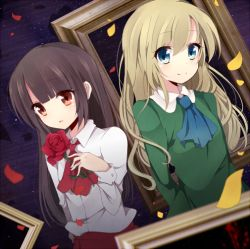 2girls ascot brown_hair dutch_angle flower ib ib_(ib) kzom long_hair looking_at_viewer mary_(ib) multiple_girls parted_lips petals red_eyes rose smile