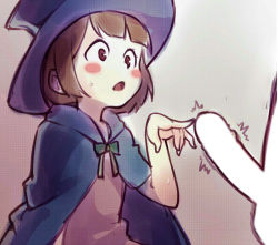 10s 1boy 1girl :o akko_kagari blush bowtie brown_eyes brown_hair cape hetero kagari_atsuko little_witch_academia loli open_mouth penis penis_awe poking short_hair sweat sweatdrop