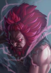 1boy bared_teeth beads beard big_hair black_sclera dark_skin dougi electricity facial_hair forehead glowing glowing_eyes gouki hio_(hiomemo) male_focus muscle no_eyebrows nose prayer_beads red_eyes red_hair shirtless solo street_fighter street_fighter_v topknot