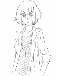 1girl alternate_hair_length alternate_hairstyle blazer casual jewelry kill_la_kill kiryuuin_satsuki necklace official_art saitou_kengo short_hair sketch solo