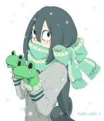 artist_request asui_tsuyu black_eyes black_hair boku_no_hero_academia cold frog mittens snow winter