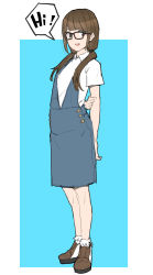 1girl absurdres arms_behind_back black-framed_glasses blue_dress brown_eyes brown_hair casual dress flat_chest full_body hair_over_shoulder highres holding_arm long_hair low_twintails makai original shoes sketch solo standing twintails