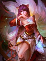 1girl absurdres ahri animal_ears armpits blue_hair braid breasts collarbone detached_sleeves energy_ball fox_ears fox_tail gawain_(artist) hand_to_own_mouth highres korean_clothes league_of_legends lips long_hair looking_to_the_side multiple_tails off_shoulder parted_lips signature single_braid tail whisker_markings wide_sleeves