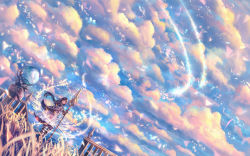 1girl brown_hair cape cloud dress dutch_angle fantasy grass highres light_particles long_hair looking_at_viewer looking_to_the_side magic original railing sakimori_(hououbds) scenery sky smile solo staff wind