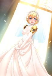 aegis_(persona) android blonde_hair blue_eyes blush bridal_veil dress earphones elbow_gloves gloves highres looking_at_viewer open_mouth persona persona_3 petals robot_joints short_hair smile twrlare veil wedding_dress