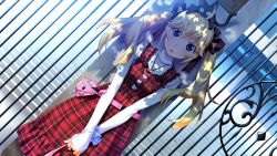 1girl animal_on_head black_cat blonde_hair blue_eyes blush cat cat_on_head copyright_request dress dutch_angle fumio_(ura_fmo) game_cg grisaia_no_kajitsu hair_ribbon highres long_hair long_sleeves looking_at_viewer matsushima_michiru open_mouth outdoors plaid plaid_dress ribbon sleeves_past_wrists solo twintails v_arms