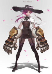 1girl alternate_costume black_legwear breasts cigarette danann dress floral_print full_body garter_straps hat league_of_legends looking_at_viewer pantyhose parted_lips pink_hair ponytail puffy_short_sleeves puffy_sleeves purple_eyes shirt short_dress short_hair short_sleeves small_breasts solo standing thighhighs thighhighs_over_pantyhose vi_(league_of_legends) white_shirt