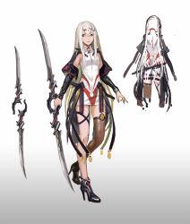 1girl asymmetrical_legwear double-blade infukun karadoa_(infukun) long_hair looking_at_viewer original pixiv_fantasia pixiv_fantasia_t solo turnaround