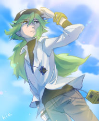 1boy adjusting_clothes adjusting_hat baseball_cap blue_sky green_eyes green_hair hat jacket jewelry long_hair male n_(pokemon) necklace pokemon pokemon_(game) pokemon_bw signature sky sky-sky solo