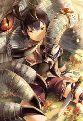 1boy arm_support artist_name claws dragon fantasy flower gloves grass highres jewelry looking_at_viewer male_focus noeyebrow_(mauve) original outdoors ring shorts sitting solo_focus sword weapon western_dragon