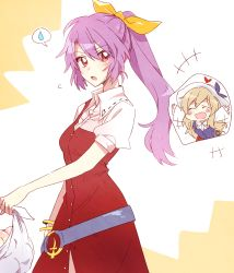 2girls :d bag blonde_hair dress eyes_closed hair_ribbon hat highres long_hair multiple_girls open_mouth outstretched_arms ponytail puffy_short_sleeves puffy_sleeves purple_hair red_dress red_eyes ribbon sash shirt shopping_bag short_sleeves simple_background six_(fnrptal1010) smile spoken_sweatdrop sweatdrop touhou very_long_hair watatsuki_no_toyohime watatsuki_no_yorihime