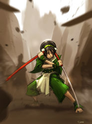 1girl ankle_cuffs anklet avatar:_the_last_airbender avatar_(series) barefoot blind capri_pants chinese_clothes crossover darren_geers eyes_closed gradient gradient_background highres jewelry katana pants parody reverse_grip sheath shirasaya sword toph_bei_fong weapon zatoichi