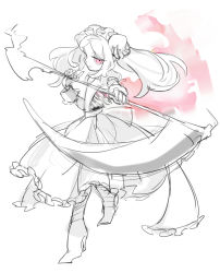 1girl apron bloody_marie_(skullgirls) commentary_request dress from_side hair_ornament hat high_heels holding looking_at_viewer maid maid_headdress monochrome notoro red_eyes ribs scythe silver_hair simple_background sketch skull skull_hair_ornament skullgirls solo spot_color twintails weapon white_background