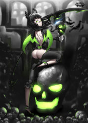 1girl ass ass_cutout backless_outfit black-framed_glasses black_hair black_rock_shooter bottomless claws dead_master demon_girl demon_horns glowing glowing_eyes green_eyes highres hk_(hk) horns looking_at_viewer pants scythe shirt skull solo wings
