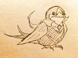 animal animalization beak bird duel_monster feathers highres lyrical_luscinia_sapphire_swallow monochrome no_humans solo tail traditional_media wings yu-gi-oh! yuu-gi-ou_arc-v