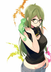 1girl bare_arms breasts cleavage frog glasses green_eyes green_hair long_hair looking_at_viewer midriff original round_glasses sasamori_tomoe solo