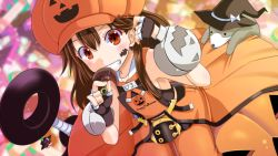 1girl adapted_costume anchor animal blush brown_eyes brown_hair fingerless_gloves flat_chest gloves grin guilty_gear hair_flip halloween hat jack-o'-lantern long_hair may_(guilty_gear) orange_(color) pirate_hat ponkotsu smile solo witch_hat